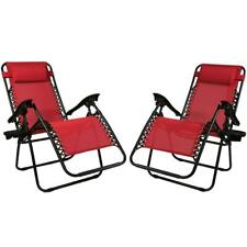 Zero Gravity Red Lawn Chairs with Pillow and Cup Holder (2-Set)