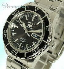 New SEIKO 5 SPORTS MEN'S AUTOMATIC BLACK FACE SNZH55K1