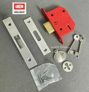 """Union 68mm (2.5"""") 5 Lever Mortice Deadlock Satin Stainless – J2105S"""