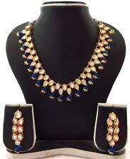 Indian Traditional Bollywood Bridal Fashion Blue Kundan Pearl Party Jewelry Set