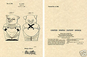 SHAWNEE SMILEY PIG Cookie Jar US Patent Art Print READY TO FRAME!! 1942 Ganz