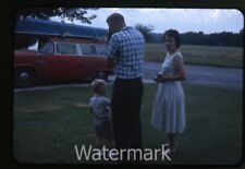 1962 35mm Photo slide Man and Lady with camera    car