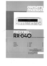 Rotel RX-840 Receiver Owners Instruction Manual