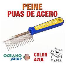 PEINE PÚAS DE ACERO PERRO Y GATO MASAJEADOR PELO MANGO GOMA D58 A2383