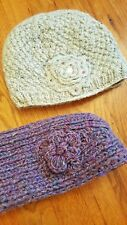 Set of 2 Wool & Silk Ear Warmer + Beanie Hat / Fleece Lined / Handmade in Nepal