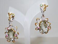 GENUINE 10.78cts! Green Amethyst, Emerald & Ruby Stud Earrings S/Silver 925!