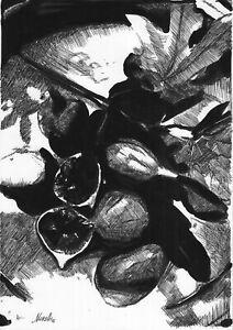 original drawing A4 366BJ art samovar liner Realism Fruit figs Signed 2021