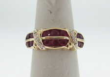 Natural Red Rubies Diamonds BAND Solid 14K Yellow Gold Ring FREE Sizing