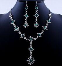 barroco juego Cristal Gótico Verde Collar Pendiente Novia adorno de traje 15g