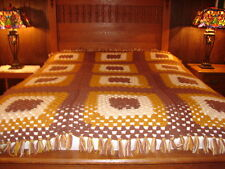Granny Square Handmade Handcrafted Crochet AFGHAN Throw Blanket ~ Brown gold Whi