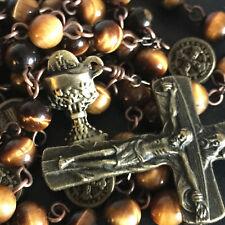 VINTAGE ST.BENEDICT Tiger Eye Beads ROSARY CROSS crucifix catholic necklace