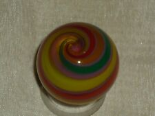 "INCREDIBLE HANDMADE ARTGLASS 1.5"" MARBLE RAINBOW SWIRL SIGNED RICK DAVIS"
