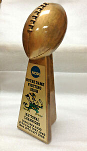 "10"" NOTRE DAME FIGHTING IRISH NCAA NATIONAL CHAMPION GOLDTONE FOOTBALL TROPHY"