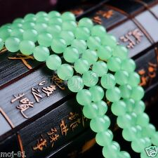 "8mm Natural Smooth Green Jade Round Gemstone Loose Beads 15"" Strand AAA"