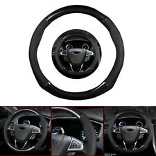 "Universal 15"" 38cm Car Truck Carbon Fiber Leather Steering Wheel Cover Black New"