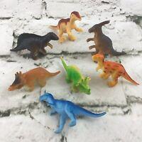 Miniature Dinosaur Figures Lot Of 7 Triceratops T-Rex Raptors Jurassic Toys