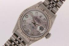 Ladies Rolex Datejust Automatic Stainless Steel Watch Diamond Pearl Dial