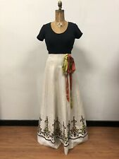 Beautiful Vintage 1970s Anne Fogarty  Embroidered Linen Maxi Dress