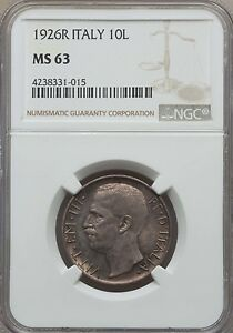 1926 R Italy 10 Lire, NGC MS 63, Scarce in MS
