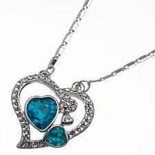 7.76 Ct Heart Cut Style Shape Blue Topaz CZ 18K White Gold Plated Pendant