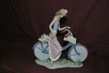 Lladro 5272 Biking In The Country Girl On Bike Porcelain Figurine