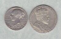 TWO SILVER COMMEMORATIVE MEDALS 1897 VICTORIA & 1902 IN NEAR MINT CONDITION