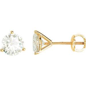 14k Solid Yellow Gold Forever ONE Moissanite Martini threaded Earrings