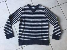 Pull à manches longues marinière bleu marine blanc rayé pour bébé fille 24 mois 2 ans hiver Jacadi