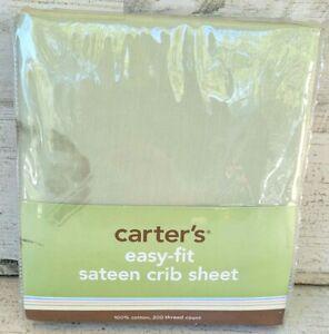 CARTER'S EASY FIT 100% COTTON SATEEN CRIB SHEET-SAGEGREEN- NIP