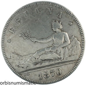 SPAIN 5 PESETAS 1870 PROVISIONAL GOVERNMENT SPANISH 900% BIG SILVER COIN Z649