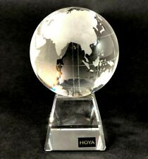 Rare HOYA Cloudy Smoked Glass Spherical World Geography Globe on Square Stand