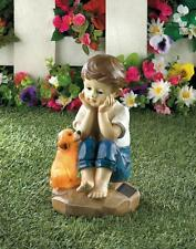 """Boy playing with dog child outdoor 9"""" statue Led path Solar powered light lamp"""