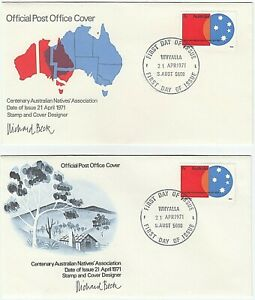 1971 FIRST DAY COVERS FDCS 'CENTENARY NATIVES' ASSN' (SET of 2) GREAT CONDITION