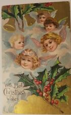 Vintage 1908 Christmas Postcard- Little Angel Faces With Holly & Bells