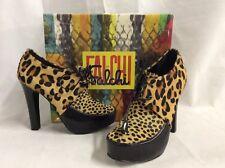 Falchi By Falchi LAUREN Women's Heels Hair Fur Booties, Size 7.5 Black/Leopard