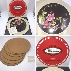 🌟6 Vintage Pimpernel Place Mats Acrylic Clematis Flower Design Round Boxed