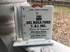 Glass/Metal Adv. Rain Gauge,Del Rosa Ford Tractors & Eq.Penn Yan Ny