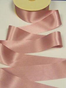 3 metres of DUSKY PINK colour 60 double satin ribbon in various widths