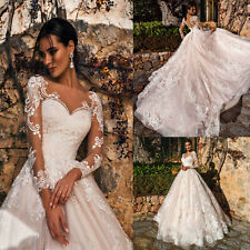 Long Sleeves Appliques Bride Wedding Dresses A Line V Neck Lace Bridal Ball Gown