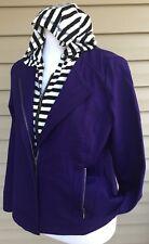 ZENERGY Chicos Jacket SZ 0 Purple Full Zip Detachable Hood Striped 4 6 Small S
