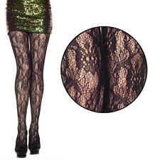 Womens Black Sheer Gothic Vine Victorian Floral Lace Fishnet Stockings Pantyhose