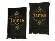 Men's Black Personalized Embroidered Cotton Terry Hand Towel