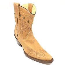 Women's NEW Corral Western Ankle Boots Cowgirl Shoes Size 6.5 M Brown Leather N7