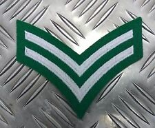 Genuine Military Issue Corporal Rank Stripes 2 Chevrons Silver on Green EPB39