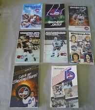 Lot of 8 NHL Winnipeg Jets 1979-80 / 1989-90  Official Hockey Media Guides