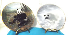 Panda & Harp Seal collector plates.Very Good Orig Boxes Great Price W.L. George