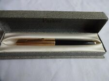 More details for parker 61 black fountain pen with 1/5 12k rolled-gold consort cap, boxed