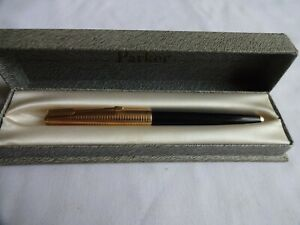 Parker 61 Black Fountain Pen with 1/5 12k Rolled-Gold Consort Cap, Boxed