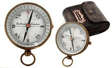 Dollond London Engraved Brass Compass with Embossed Needle & Leather Case