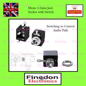 3.5mm Mono Chassis Mount switching Jack Female Socket UK Seller